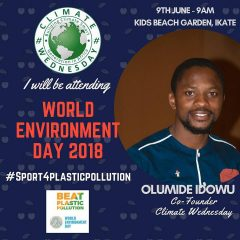 "Nigeria-climate action : ""We can all make a difference to climate change""- Olumide Idowu*"